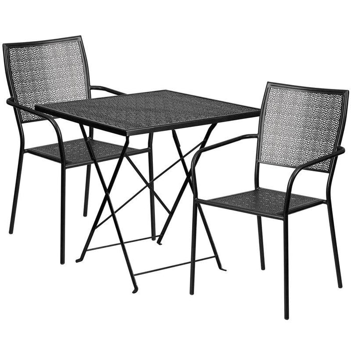 Flash Furniture CO-28SQF-02CHR2-BK-GG 28'' Square Black Indoor-Outdoor Steel Folding Patio Table Set with 2 Square Back Chairs