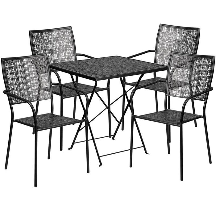 Flash Furniture CO-28SQF-02CHR4-BK-GG 28'' Square Black Indoor-Outdoor Steel Folding Patio Table Set with 4 Square Back Chairs