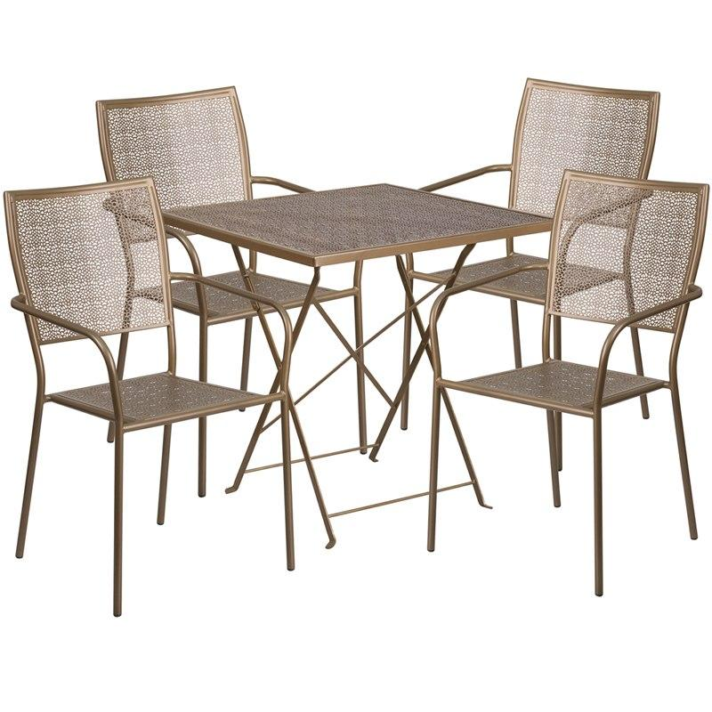 Flash Furniture CO-28SQF-02CHR4-GD-GG 28'' Square Gold Indoor-Outdoor Steel Folding Patio Table Set with 4 Square Back Chairs