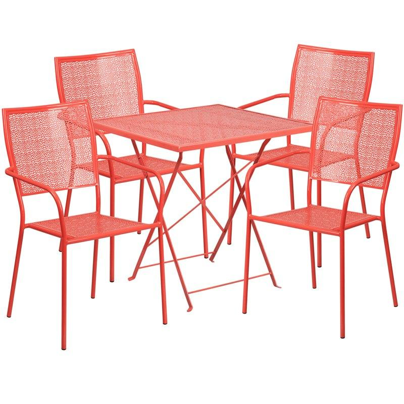 Flash Furniture CO-28SQF-02CHR4-RED-GG 28'' Square Coral Indoor-Outdoor Steel Folding Patio Table Set with 4 Square Back Chairs