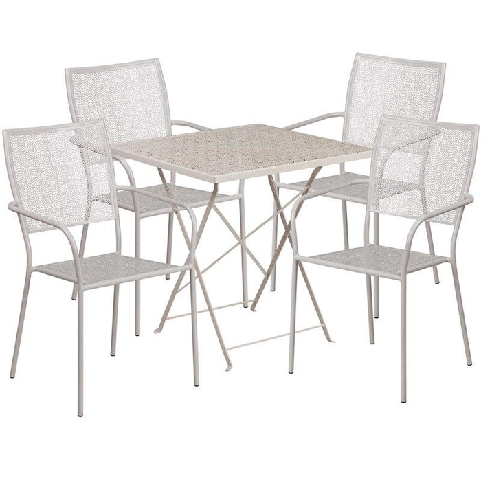 Flash Furniture CO-28SQF-02CHR4-SIL-GG 28'' Square Light Gray Indoor-Outdoor Steel Folding Patio Table Set with 4 Square Back Chairs