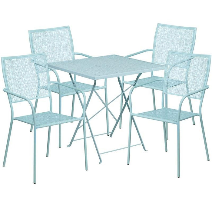 Flash Furniture CO-28SQF-02CHR4-SKY-GG 28'' Square Sky Blue Indoor-Outdoor Steel Folding Patio Table Set with 4 Square Back Chairs
