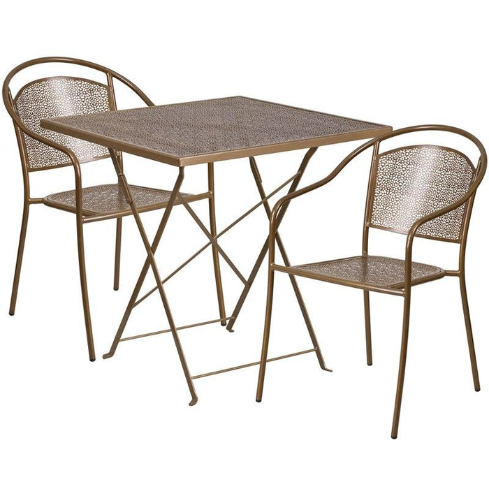 Flash Furniture CO-28SQF-03CHR2-GD-GG 28'' Square Gold Indoor-Outdoor Steel Folding Patio Table Set with 2 Round Back Chairs