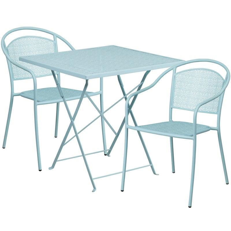 Flash Furniture CO-28SQF-03CHR2-SKY-GG 28'' Square Sky Blue Indoor-Outdoor Steel Folding Patio Table Set with 2 Round Back Chairs