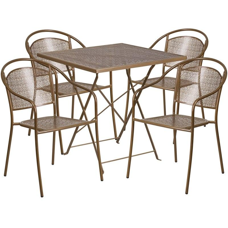 Flash Furniture CO-28SQF-03CHR4-GD-GG 28'' Square Gold Indoor-Outdoor Steel Folding Patio Table Set with 4 Round Back Chairs