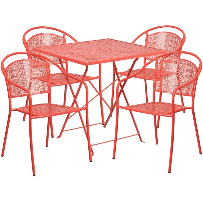 Flash Furniture CO-28SQF-03CHR4-RED-GG 28'' Square Coral Indoor-Outdoor Steel Folding Patio Table Set with 4 Round Back Chairs