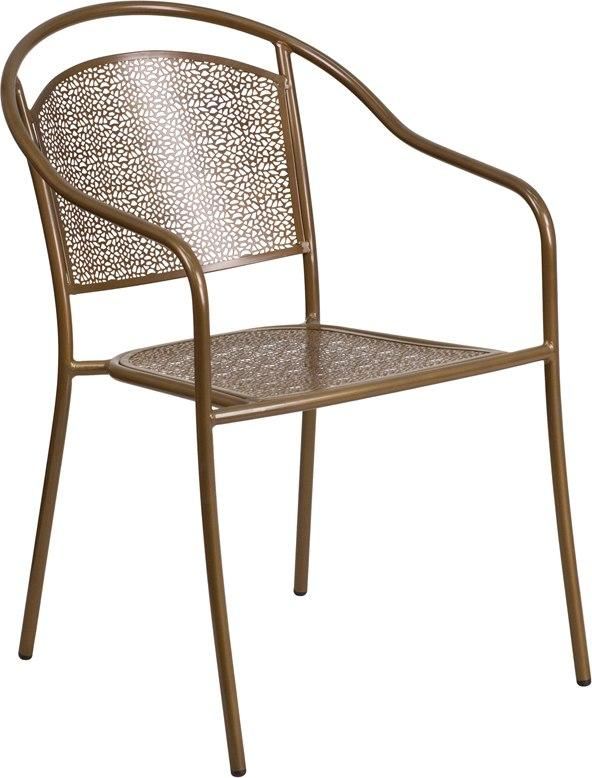Flash Furniture CO-3-GD-GG Gold Indoor-Outdoor Steel Patio Arm Chair with Round Back