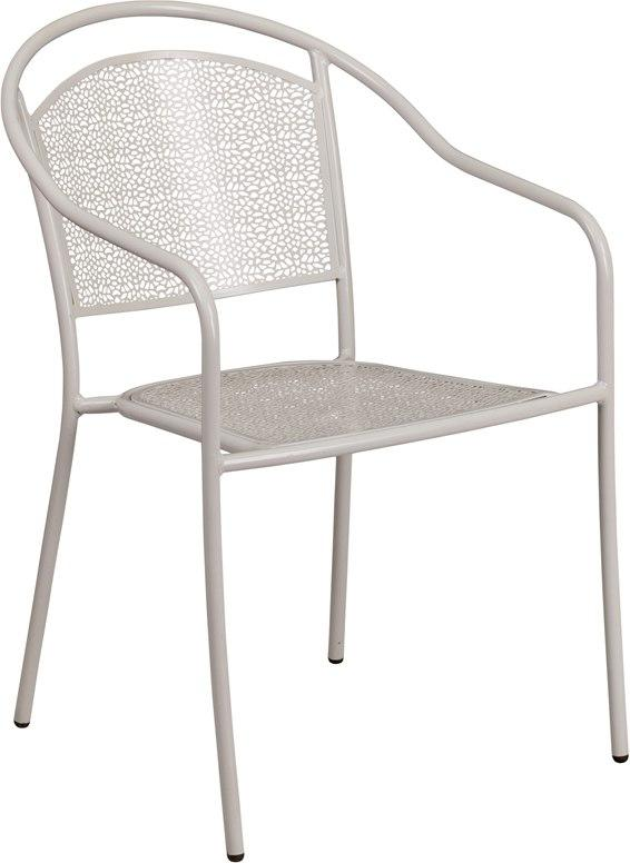 Flash Furniture CO-3-SIL-GG Light Gray Indoor-Outdoor Steel Patio Arm Chair with Round Back