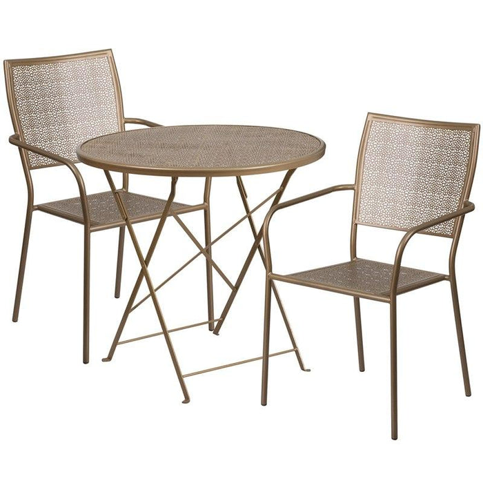 Flash Furniture CO-30RDF-02CHR2-GD-GG 30'' Round Gold Indoor-Outdoor Steel Folding Patio Table Set with 2 Square Back Chairs