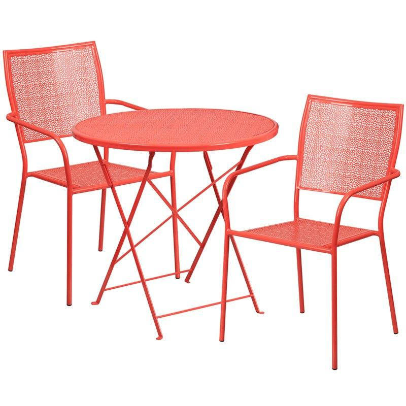 Flash Furniture CO-30RDF-02CHR2-RED-GG 30'' Round Coral Indoor-Outdoor Steel Folding Patio Table Set with 2 Square Back Chairs