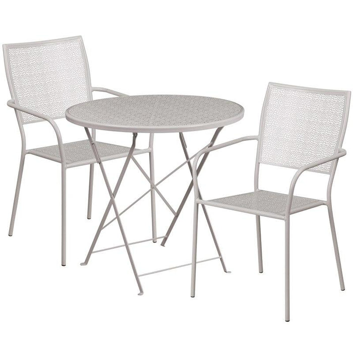 Flash Furniture CO-30RDF-02CHR2-SIL-GG 30'' Round Light Gray Indoor-Outdoor Steel Folding Patio Table Set with 2 Square Back Chairs