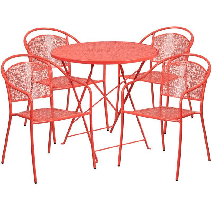 Flash Furniture CO-30RDF-03CHR4-RED-GG 30'' Round Coral Indoor-Outdoor Steel Folding Patio Table Set with 4 Round Back Chairs