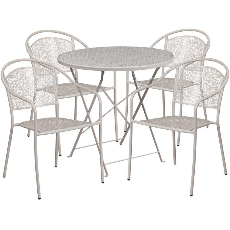 Flash Furniture CO-30RDF-03CHR4-SIL-GG 30'' Round Light Gray Indoor-Outdoor Steel Folding Patio Table Set with 4 Round Back Chairs