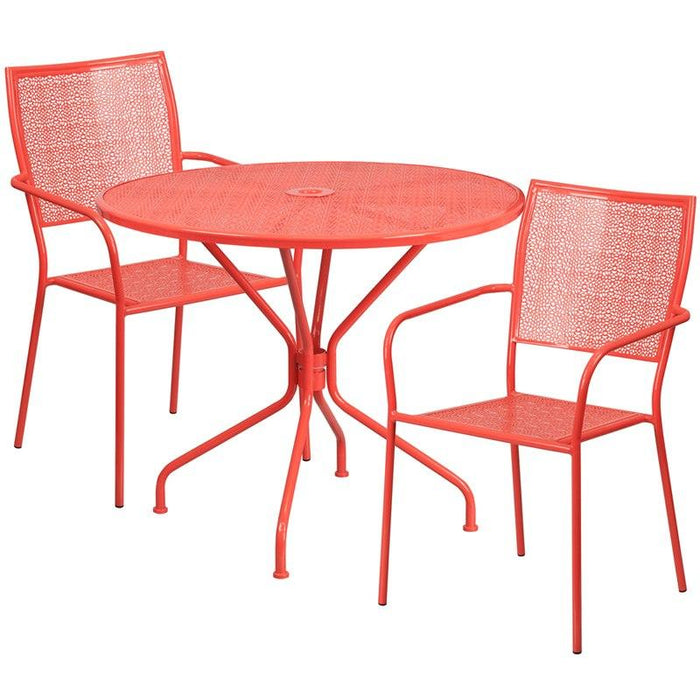 Flash Furniture CO-35RD-02CHR2-RED-GG 35.25'' Round Coral Indoor-Outdoor Steel Patio Table Set with 2 Square Back Chairs