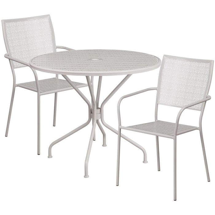 Flash Furniture CO-35RD-02CHR2-SIL-GG 35.25'' Round Light Gray Indoor-Outdoor Steel Patio Table Set with 2 Square Back Chairs