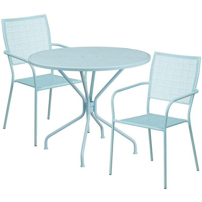Flash Furniture CO-35RD-02CHR2-SKY-GG 35.25'' Round Sky Blue Indoor-Outdoor Steel Patio Table Set with 2 Square Back Chairs