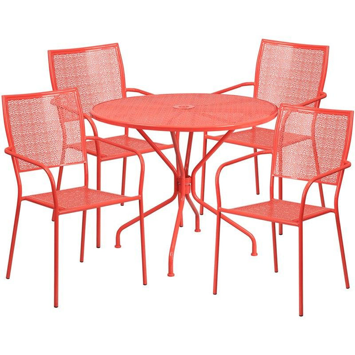 Flash Furniture CO-35RD-02CHR4-RED-GG 35.25'' Round Coral Indoor-Outdoor Steel Patio Table Set with 4 Square Back Chairs