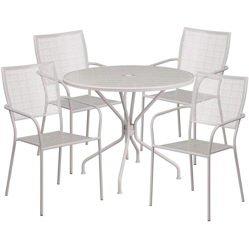 Flash Furniture CO-35RD-02CHR4-SIL-GG 35.25'' Round Light Gray Indoor-Outdoor Steel Patio Table Set with 4 Square Back Chairs