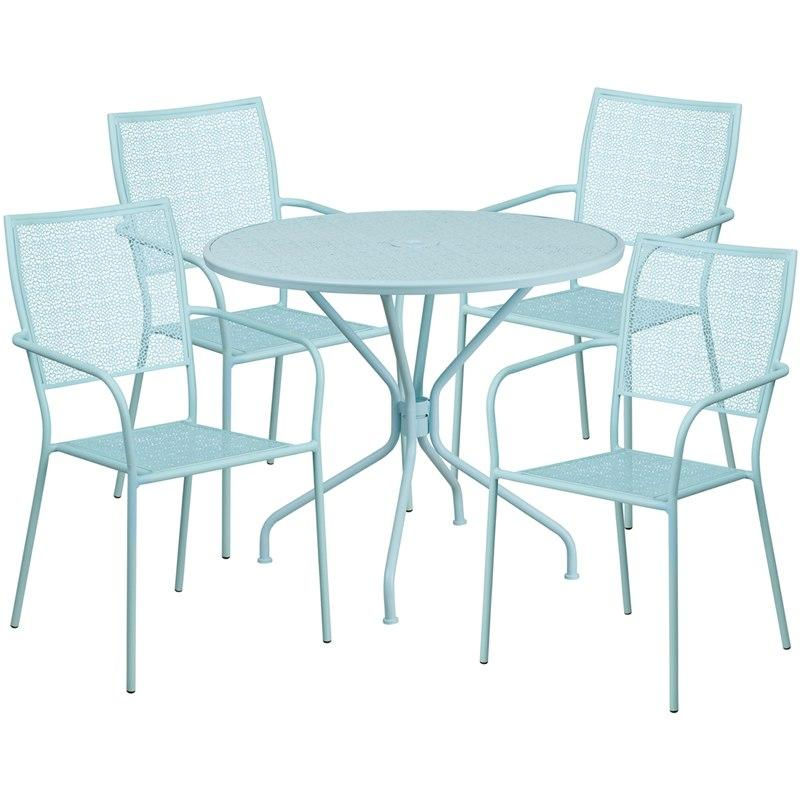 Flash Furniture CO-35RD-02CHR4-SKY-GG 35.25'' Round Sky Blue Indoor-Outdoor Steel Patio Table Set with 4 Square Back Chairs