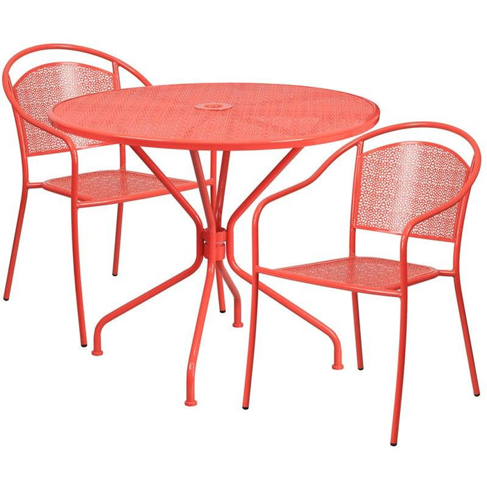 Flash Furniture CO-35RD-03CHR2-RED-GG 35.25'' Round Coral Indoor-Outdoor Steel Patio Table Set with 2 Round Back Chairs