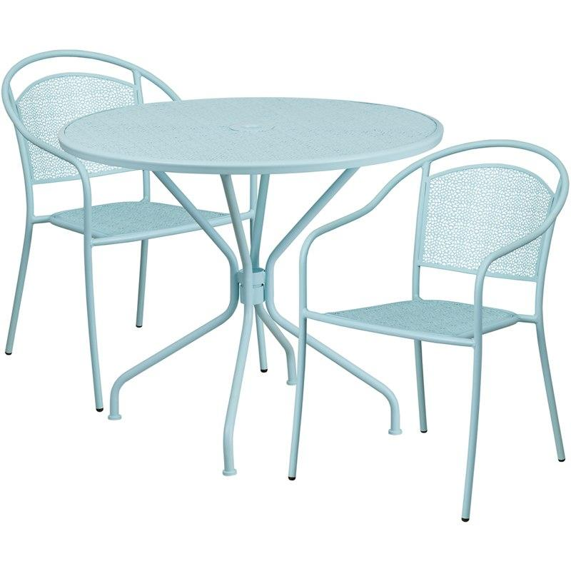 Flash Furniture CO-35RD-03CHR2-SKY-GG 35.25'' Round Sky Blue Indoor-Outdoor Steel Patio Table Set with 2 Round Back Chairs