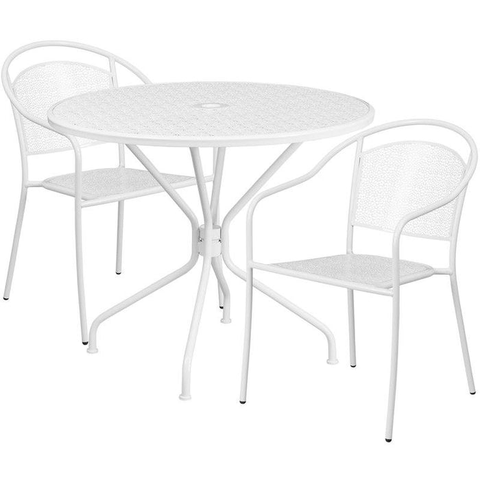 Flash Furniture CO-35RD-03CHR2-WH-GG 35.25'' Round White Indoor-Outdoor Steel Patio Table Set with 2 Round Back Chairs