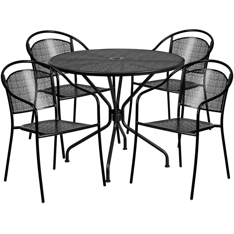 Flash Furniture CO-35RD-03CHR4-BK-GG 35.25'' Round Black Indoor-Outdoor Steel Patio Table Set with 4 Round Back Chairs