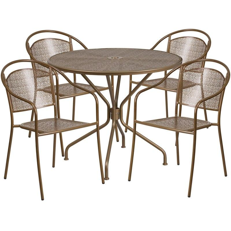 Flash Furniture CO-35RD-03CHR4-GD-GG 35.25'' Round Gold Indoor-Outdoor Steel Patio Table Set with 4 Round Back Chairs