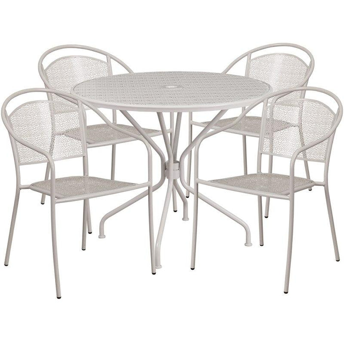 Flash Furniture CO-35RD-03CHR4-SIL-GG 35.25'' Round Light Gray Indoor-Outdoor Steel Patio Table Set with 4 Round Back Chairs