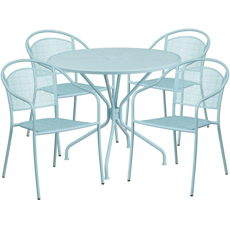 Flash Furniture CO-35RD-03CHR4-SKY-GG 35.25'' Round Sky Blue Indoor-Outdoor Steel Patio Table Set with 4 Round Back Chairs