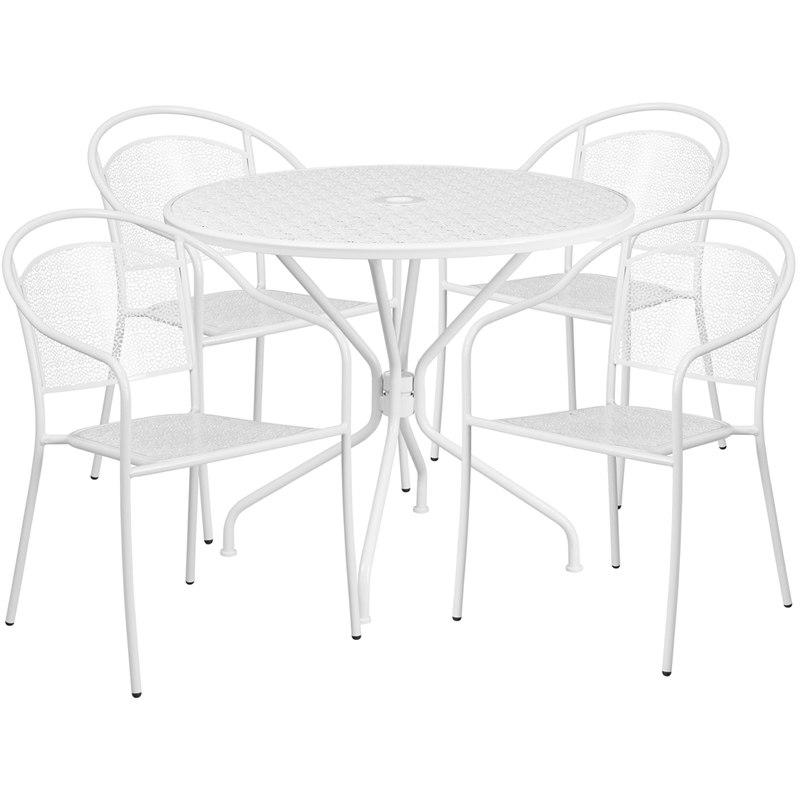 Flash Furniture CO-35RD-03CHR4-WH-GG 35.25'' Round White Indoor-Outdoor Steel Patio Table Set with 4 Round Back Chairs