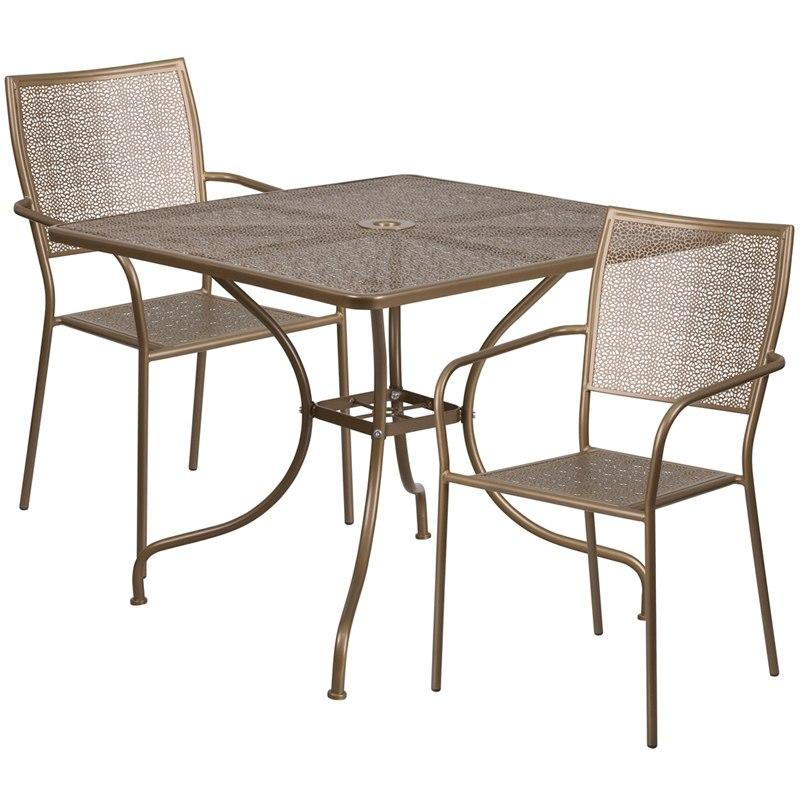 Flash Furniture CO-35SQ-02CHR2-GD-GG 35.5'' Square Gold Indoor-Outdoor Steel Patio Table Set with 2 Square Back Chairs