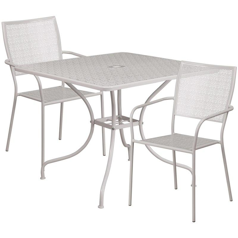 Flash Furniture CO-35SQ-02CHR2-SIL-GG 35.5'' Square Light Gray Indoor-Outdoor Steel Patio Table Set with 2 Square Back Chairs