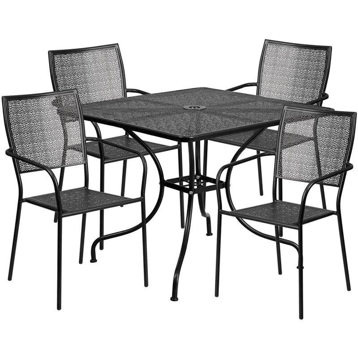 Flash Furniture CO-35SQ-02CHR4-BK-GG 35.5'' Square Black Indoor-Outdoor Steel Patio Table Set with 4 Square Back Chairs