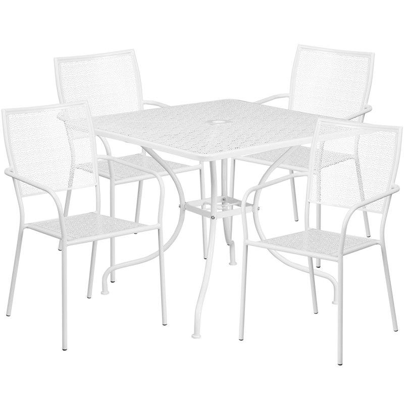 Flash Furniture CO-35SQ-02CHR4-WH-GG 35.5'' Square White Indoor-Outdoor Steel Patio Table Set with 4 Square Back Chairs