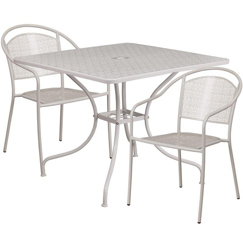 Flash Furniture CO-35SQ-03CHR2-SIL-GG 35.5'' Square Light Gray Indoor-Outdoor Steel Patio Table Set with 2 Round Back Chairs