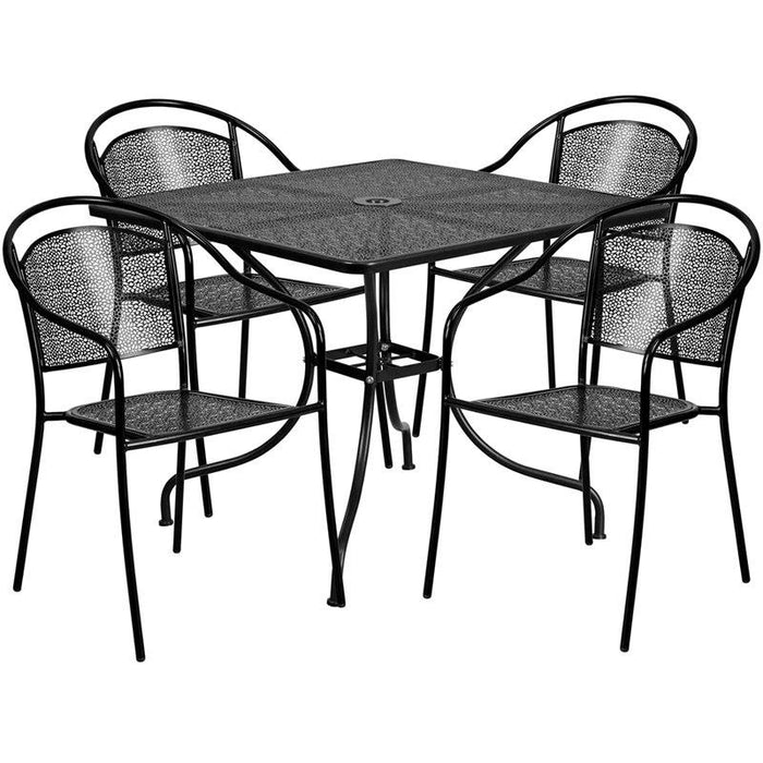 Flash Furniture CO-35SQ-03CHR4-BK-GG 35.5'' Square Black Indoor-Outdoor Steel Patio Table Set with 4 Round Back Chairs