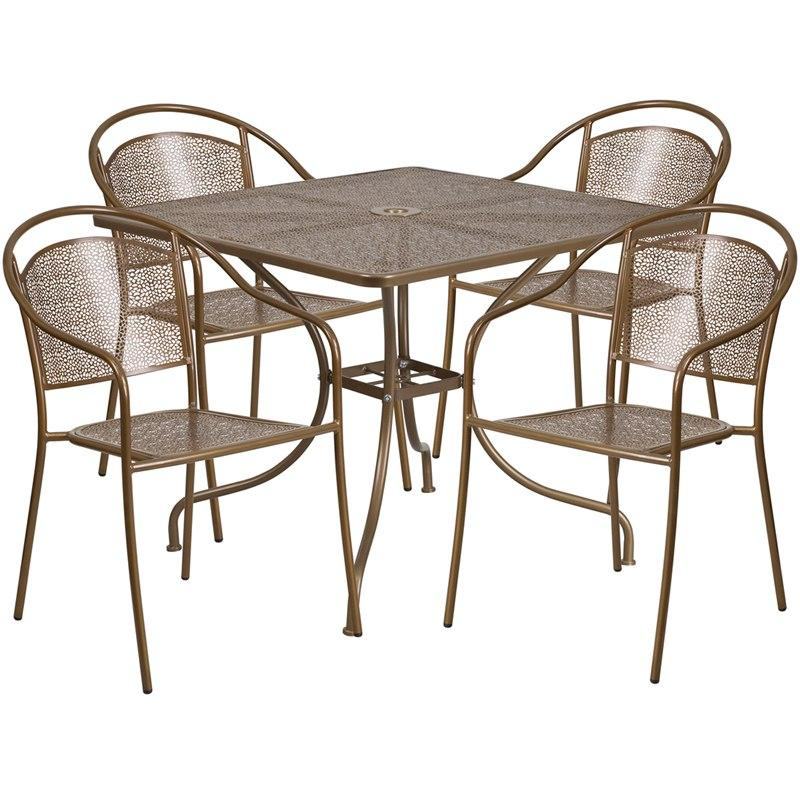 Flash Furniture CO-35SQ-03CHR4-GD-GG 35.5'' Square Gold Indoor-Outdoor Steel Patio Table Set with 4 Round Back Chairs