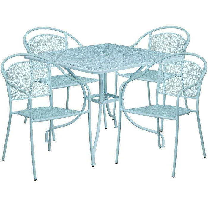 Flash Furniture CO-35SQ-03CHR4-SKY-GG 35.5'' Square Sky Blue Indoor-Outdoor Steel Patio Table Set with 4 Round Back Chairs