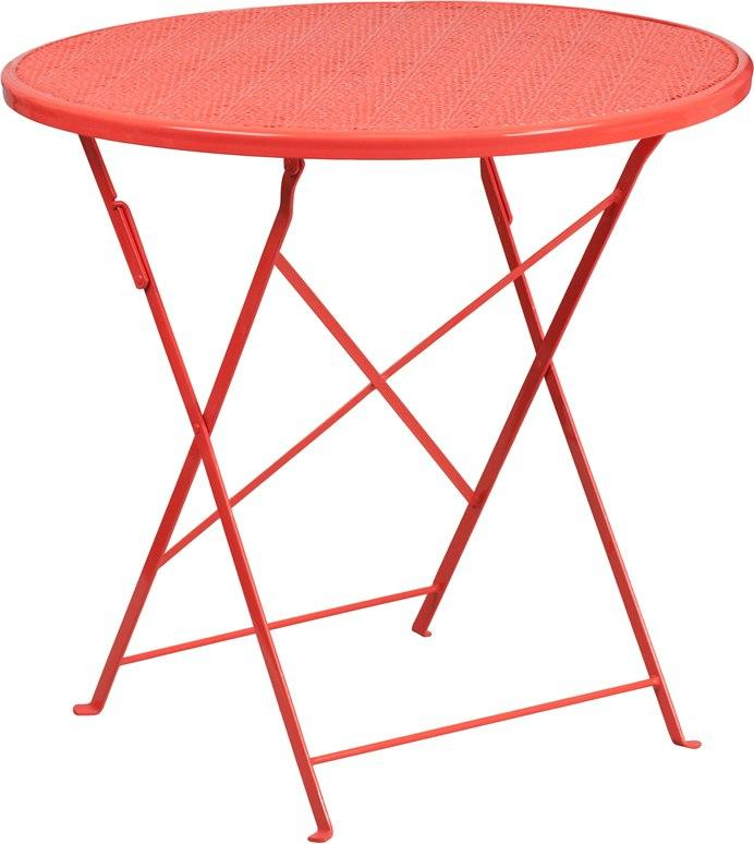 Flash Furniture CO-4-RED-GG 30'' Round Coral Indoor-Outdoor Steel Folding Patio Table