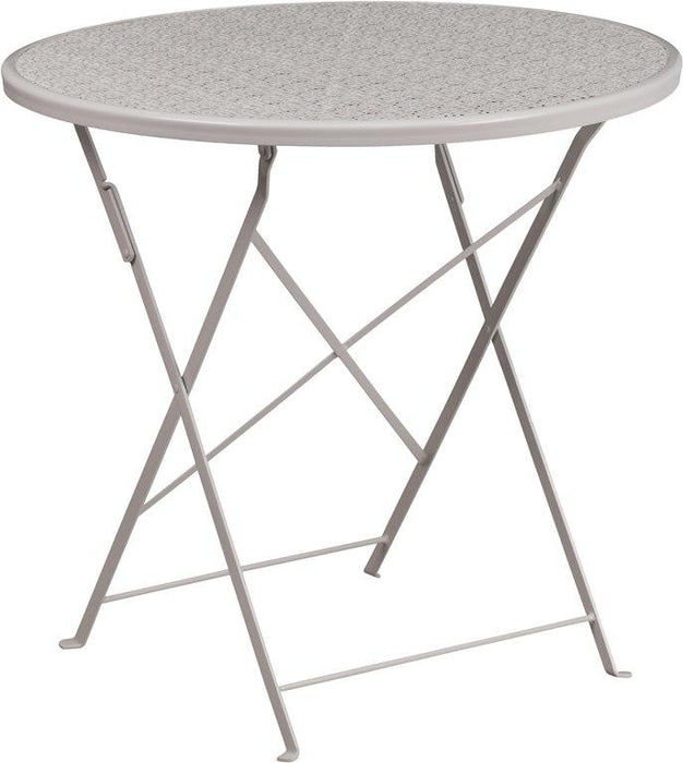 Flash Furniture CO-4-SIL-GG 30'' Round Light Gray Indoor-Outdoor Steel Folding Patio Table
