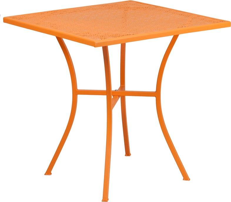Flash Furniture CO-5-OR-GG 28'' Square Orange Indoor-Outdoor Steel Patio Table
