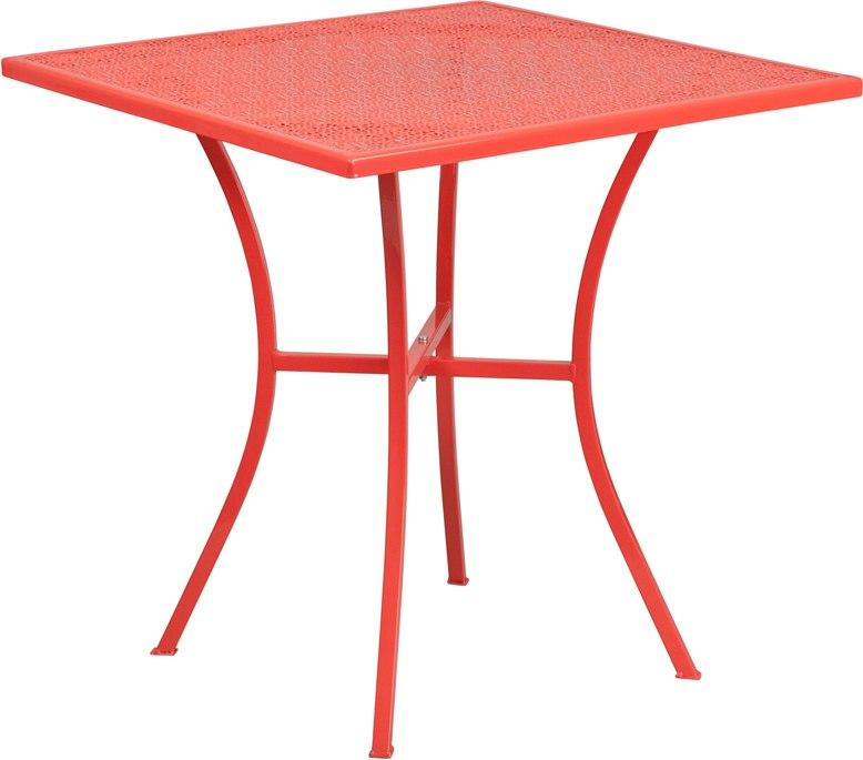 Flash Furniture CO-5-RED-GG 28'' Square Coral Indoor-Outdoor Steel Patio Table