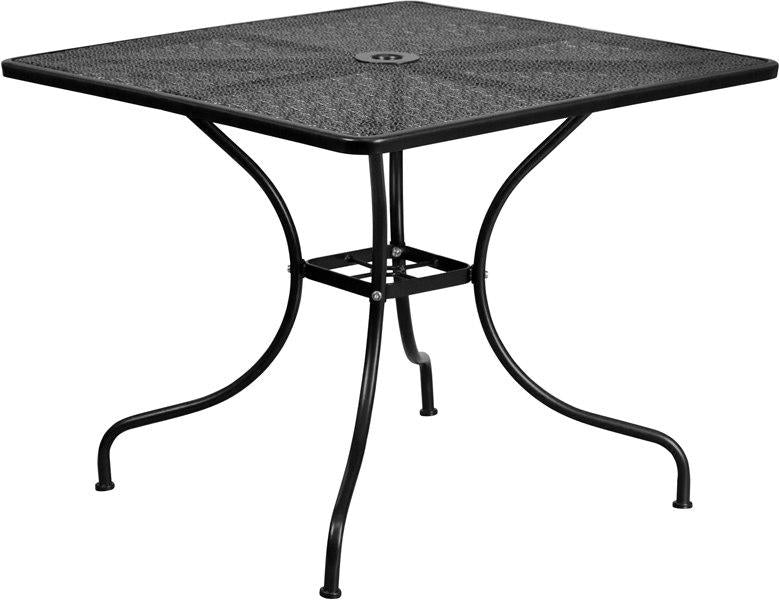 Flash Furniture CO-6-BK-GG 35.5'' Square Black Indoor-Outdoor Steel Patio Table
