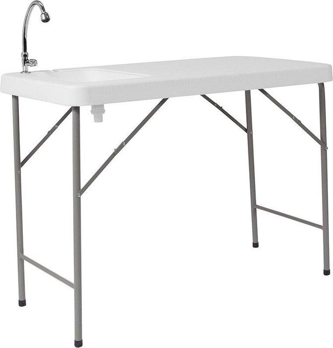 Flash Furniture DAD-PYZ-116-GG 23''W x 45''L Granite White Plastic Folding Table with Sink