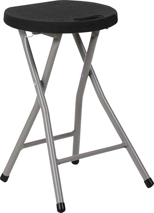 Flash Furniture DAD-YCD-30-GG Foldable Stool with Black Plastic Seat and Titanium Frame