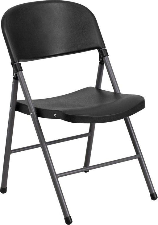 Flash Furniture DAD-YCD-50-GG HERCULES Series 330 lb. Capacity Black Plastic Folding Chair with Charcoal Frame