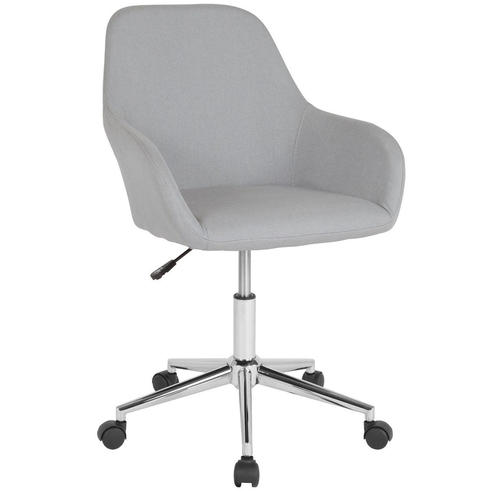 Flash Furniture DS-8012LB-LTG-F-GG Cortana Home and Office Mid-Back Chair in Light Gray Fabric
