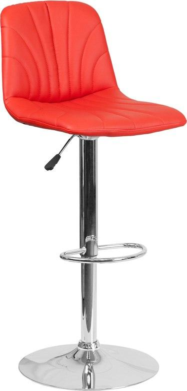 Flash Furniture DS-8220-RED-GG Contemporary Red Vinyl Adjustable Height Barstool with Chrome Base