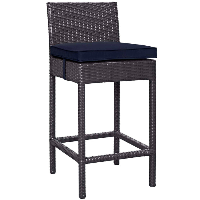 Convene Outdoor Patio Fabric Bar Stool in Espresso Navy by Modway